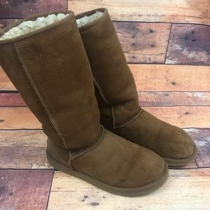 Ugg Womens Classic Tall Chestnut Leather Boot Sz 8